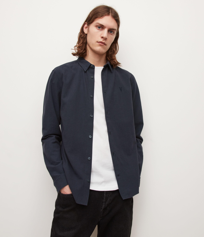 AllSaints Men's Lovell Shirt, INK Navy, Size: S