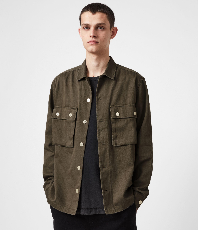 AllSaints Mens Vanguard Shirt, Khaki Green, Size: XXL