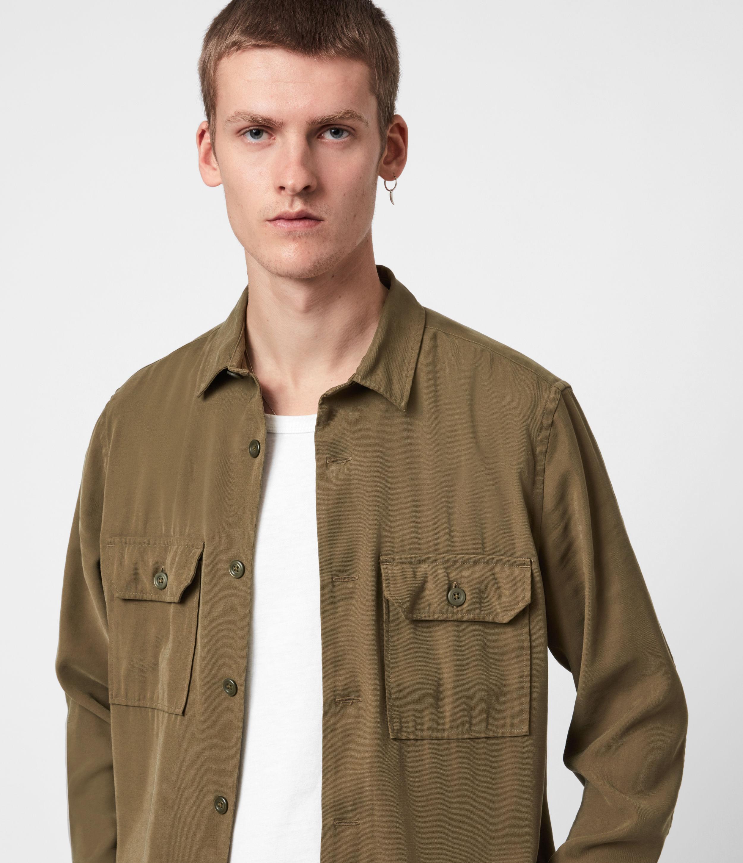 AllSaints Mens Brevet Shirt, Khaki Green, Size: XXL