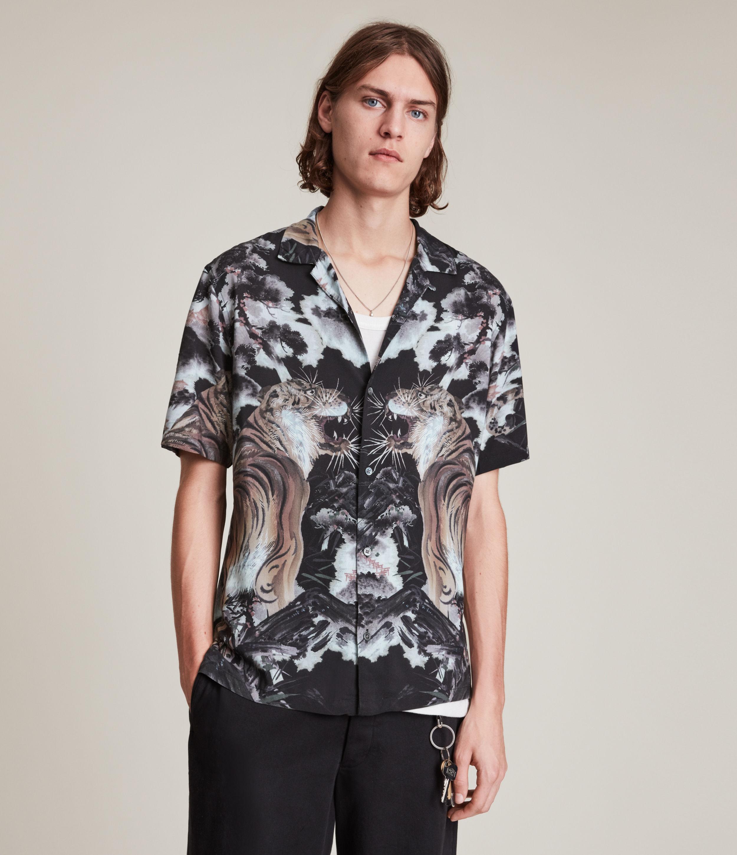 AllSaints Men's Gobi Shirt, Jet Black, Size: M