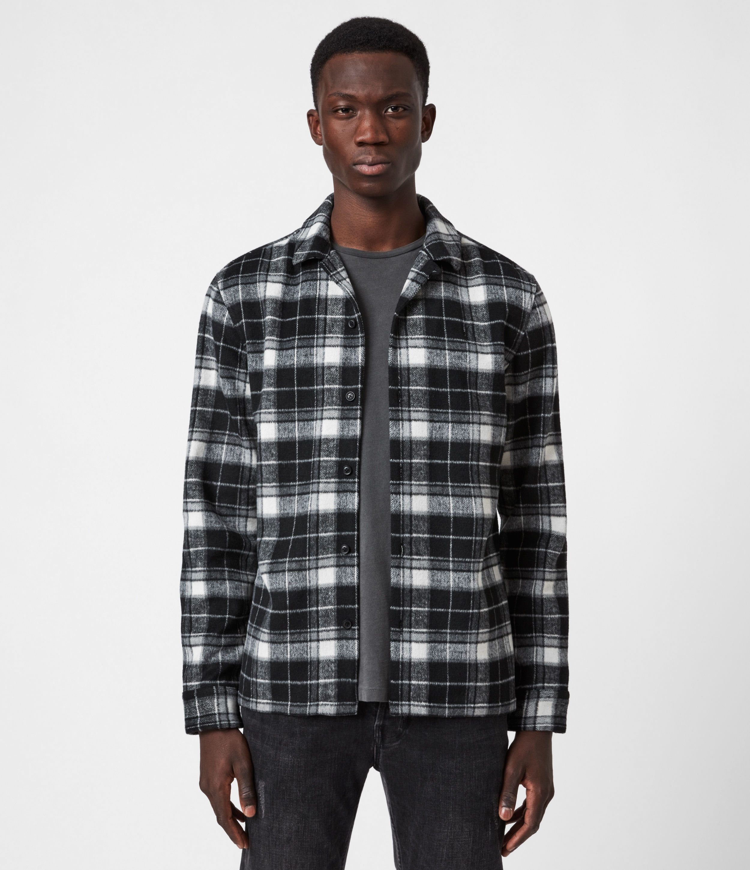 AllSaints Mens Treptow Shirt, Black, Size: XXL