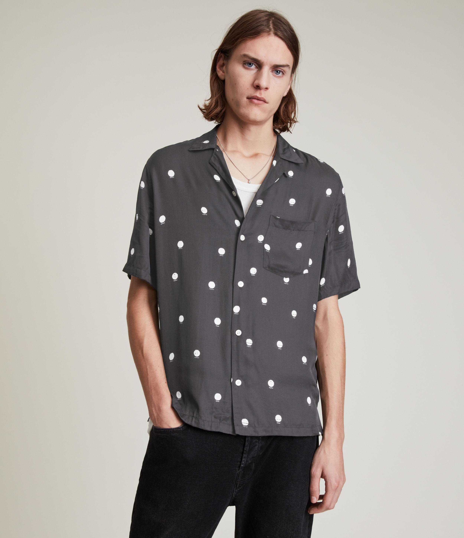 AllSaints Men's Planet Dot Shirt, JET Black/ecru, Size: L
