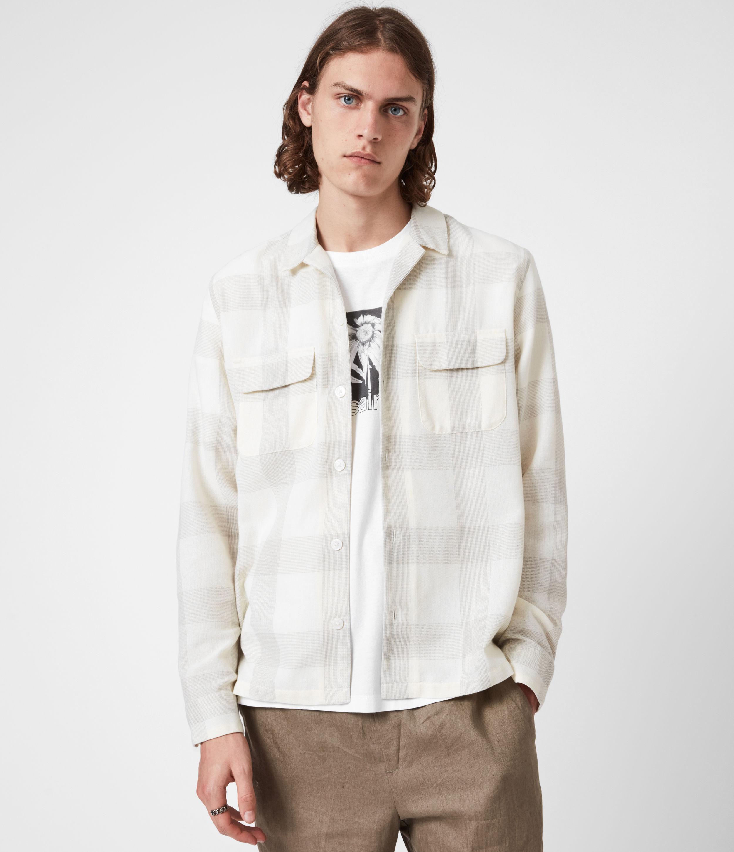 AllSaints Men's Cammargo Shirt, Vanilla/parisian G, Size: XL