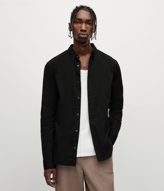 AllSaints Men's Hawthorne Stretch Fit Shirt, Black, Size: XXL