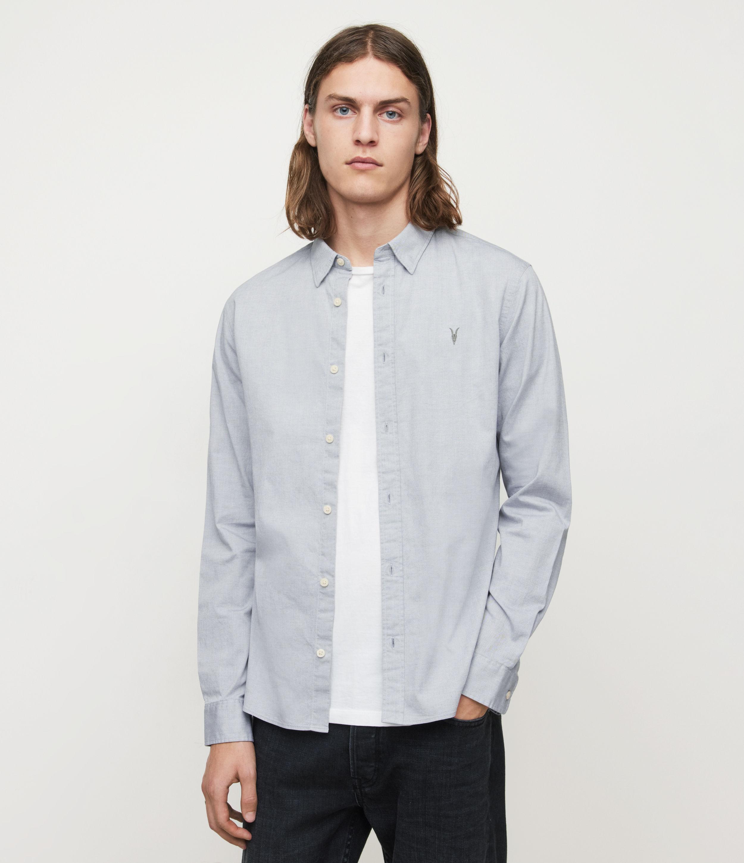 AllSaints Mens Hawthorne Stretch Fit Shirt, Light Grey, Size: XS