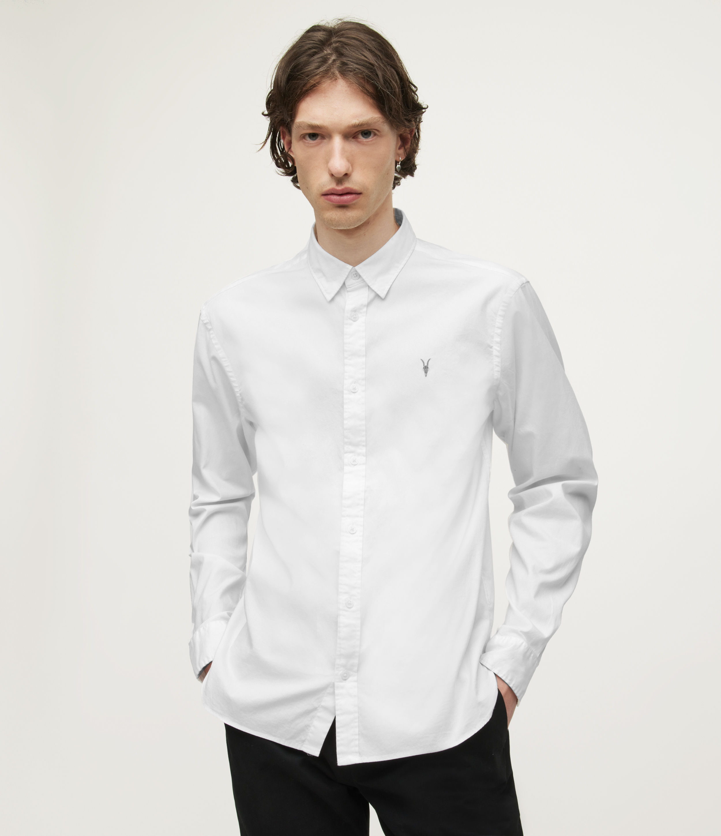 AllSaints Mens Hawthorne Stretch Fit Shirt, White, Size: S
