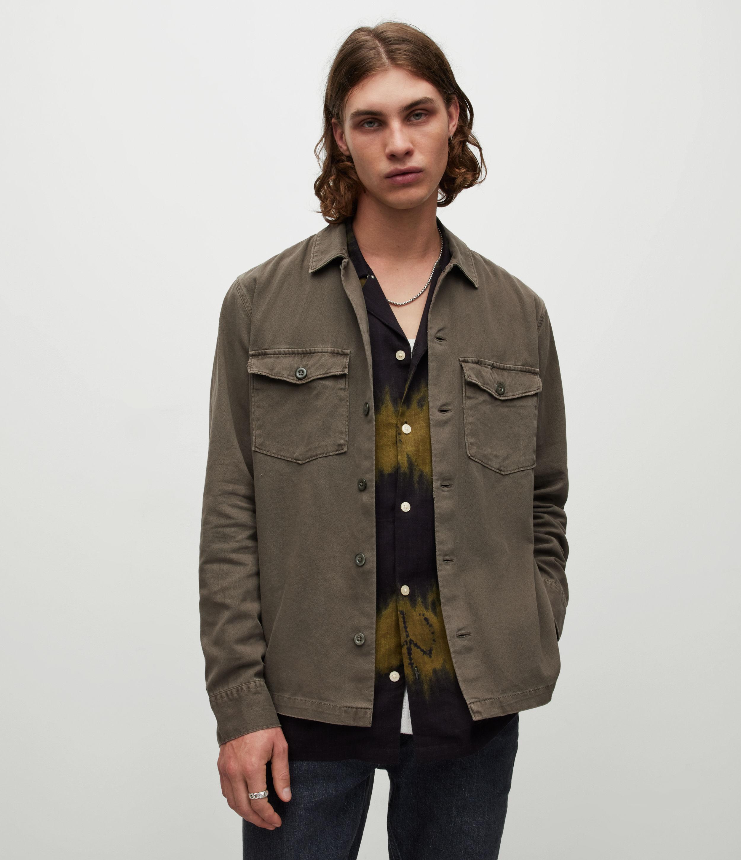 AllSaints Men's Cotton Slim Fit Spotter Shirt, Green, Size: M