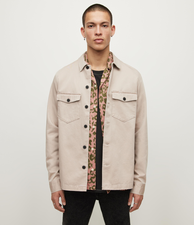 AllSaints Men's Firebase Shirt, Sand, Size: XL