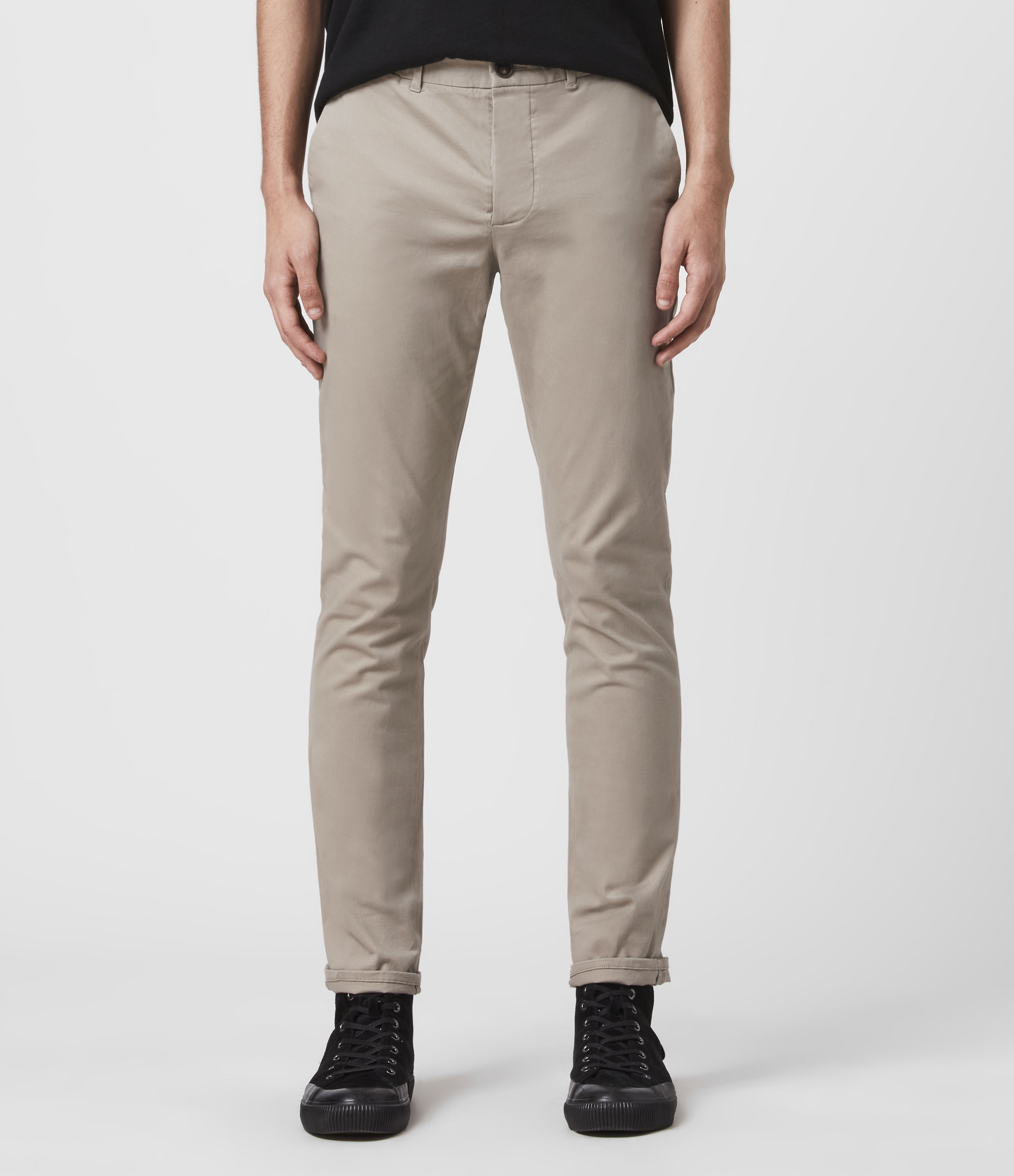 AllSaints Men's Cotton Lightweight Park Skinny Chinos, Natural, Size: 33