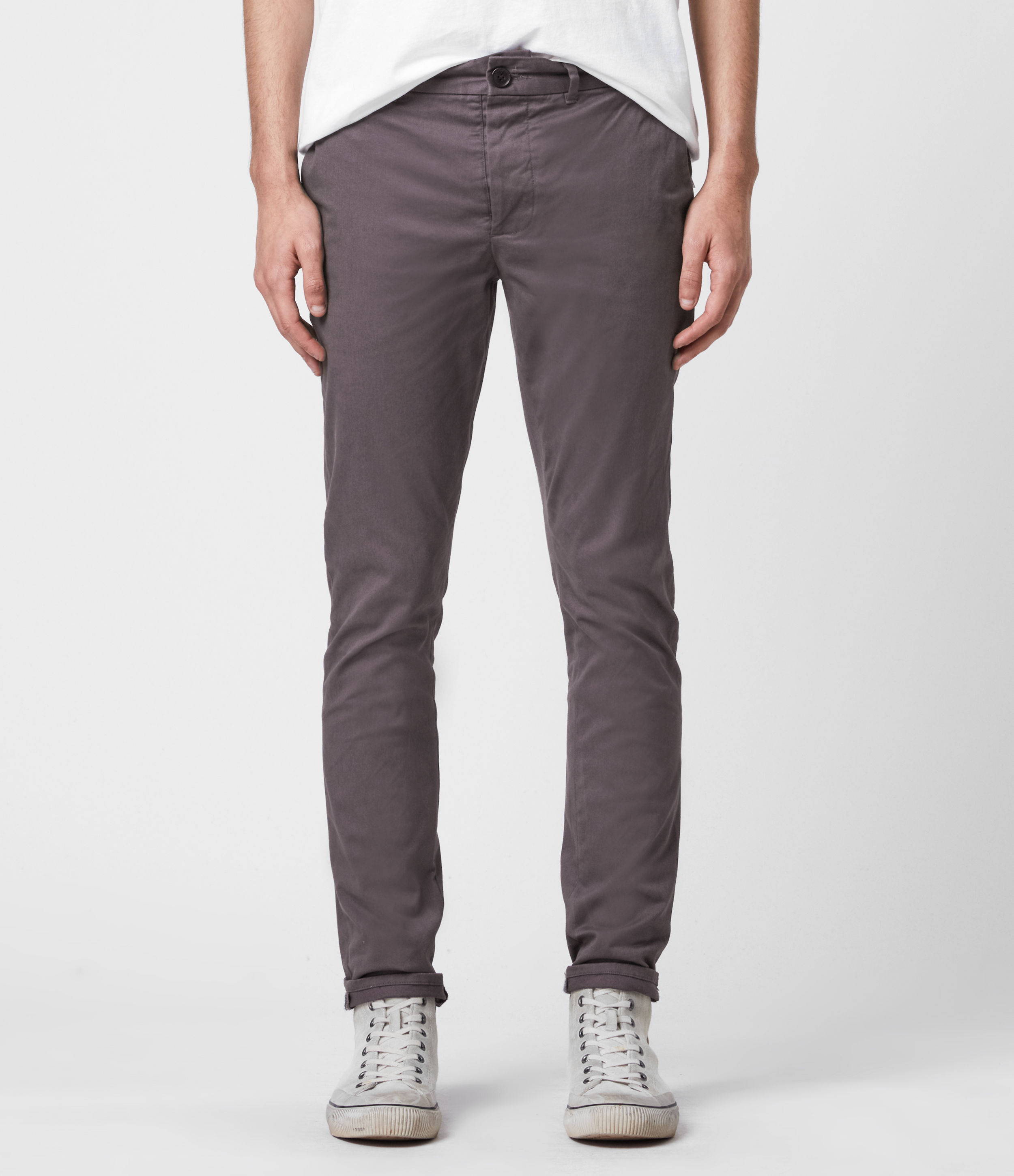 AllSaints Men's Cotton Lightweight Park Skinny Chinos, Grey, Size: 31
