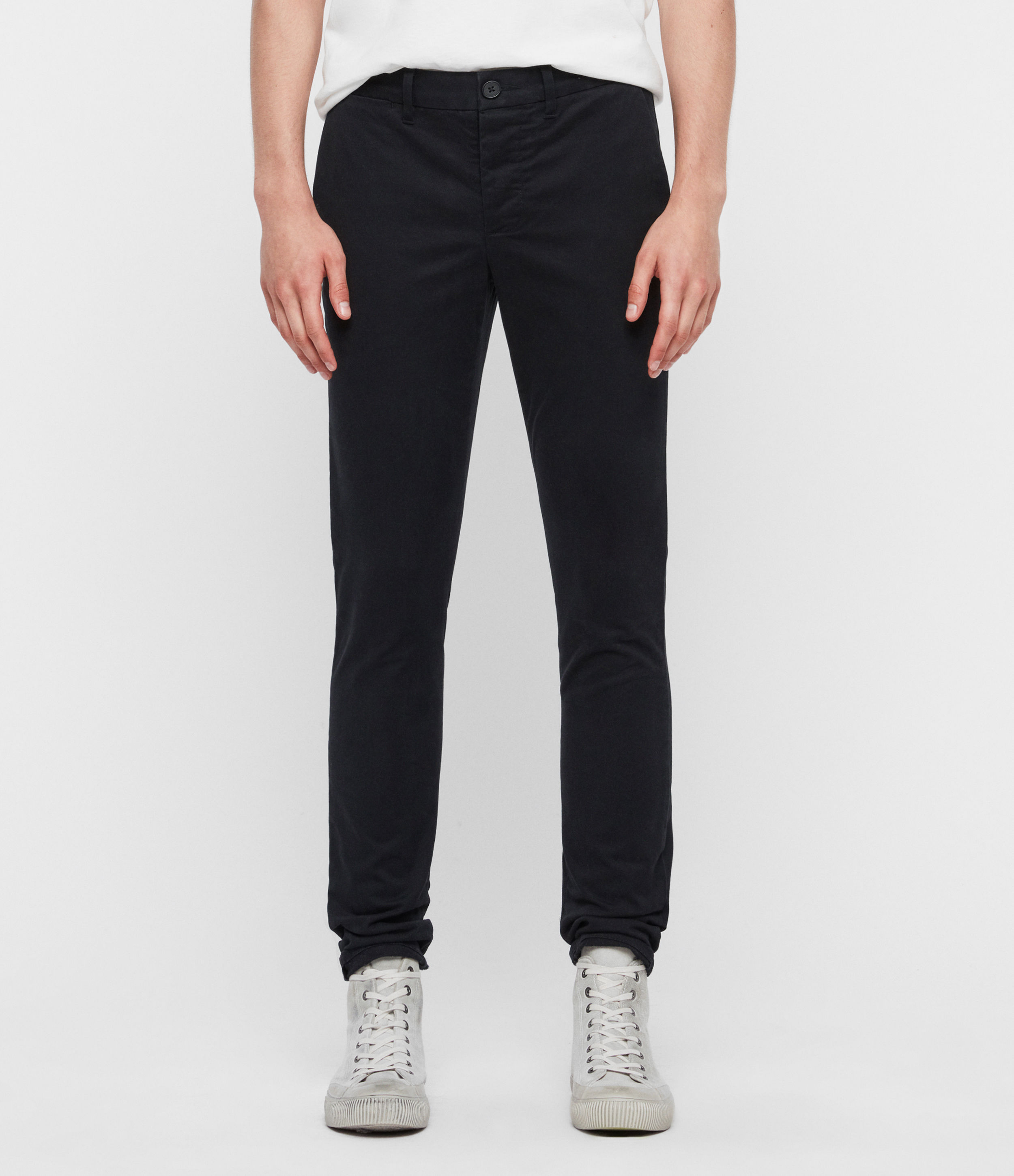 AllSaints Mens Black Cotton Park Chinos, Size: 31