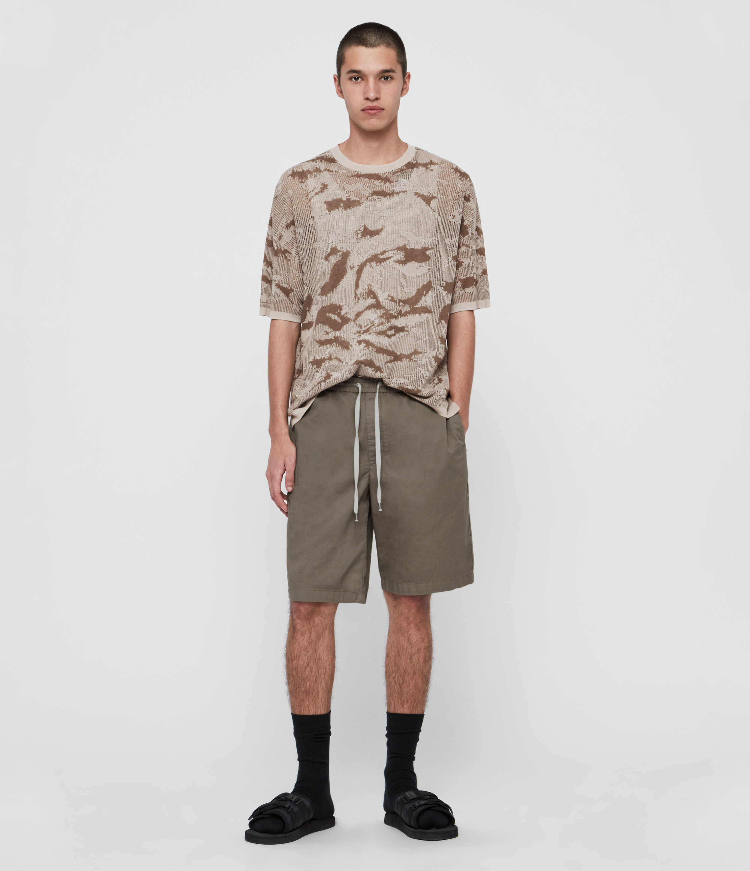 AllSaints Mens Topham Shorts, Khaki, Size: 28