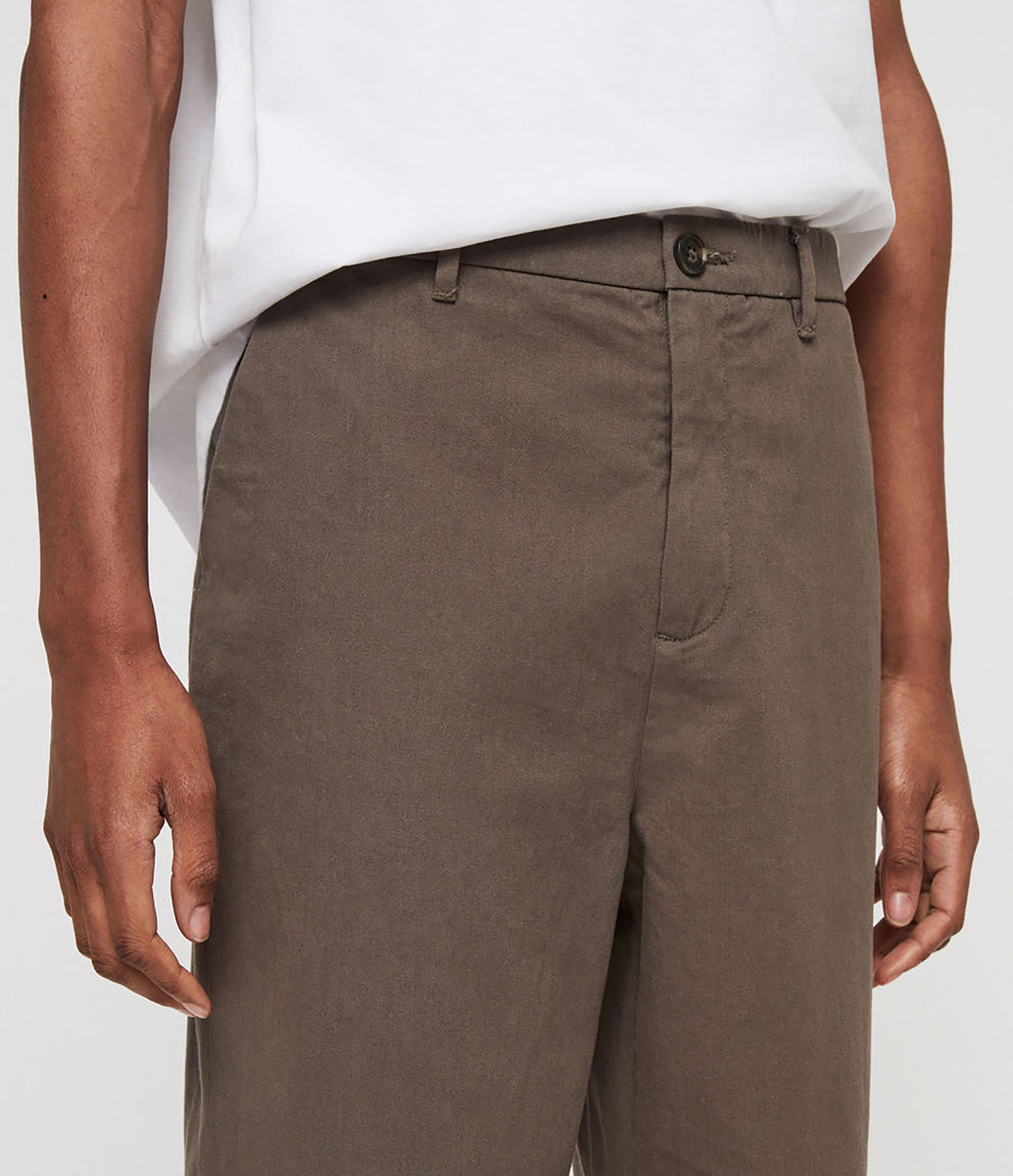 Allsaints Mens Muro Cropped Tapered Chinos In Gray