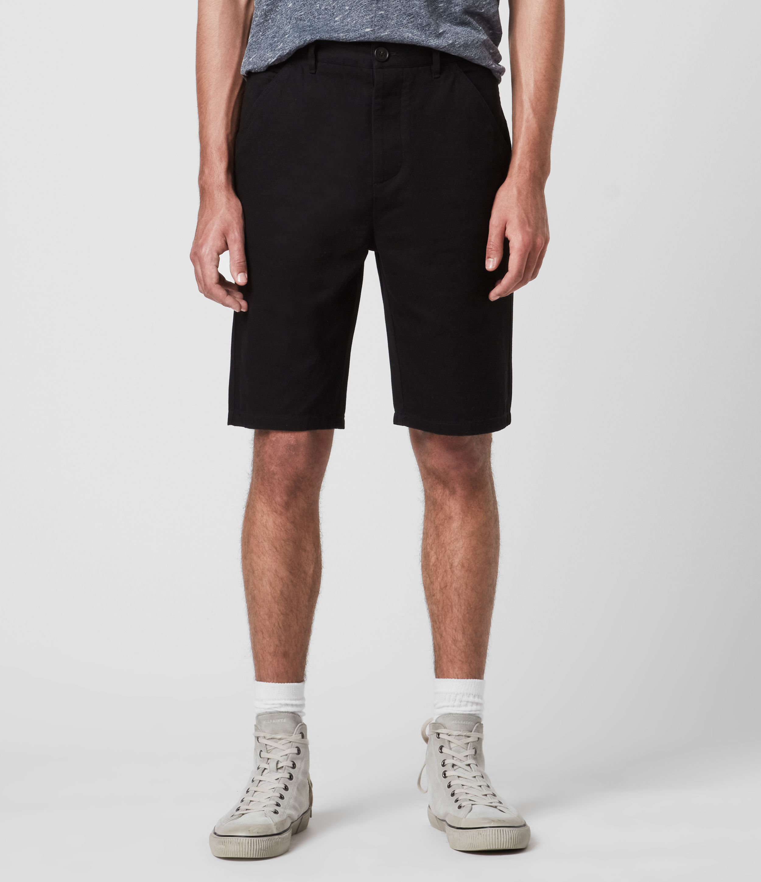 AllSaints Mens Fenner Chino Shorts, Black, Size: 30