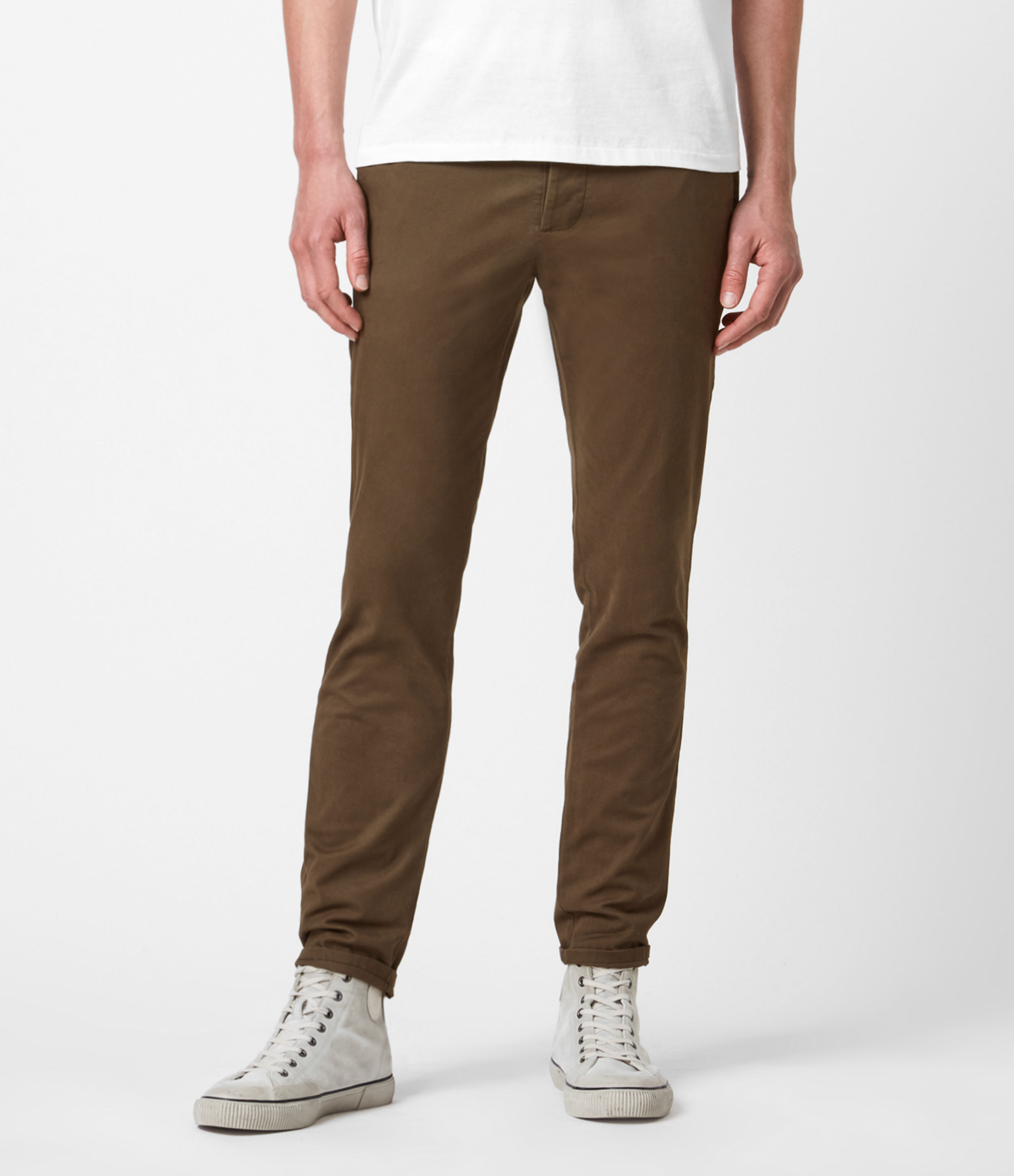 AllSaints Men's Cotton Lightweight Park Skinny Chinos, Brown, Size: 28