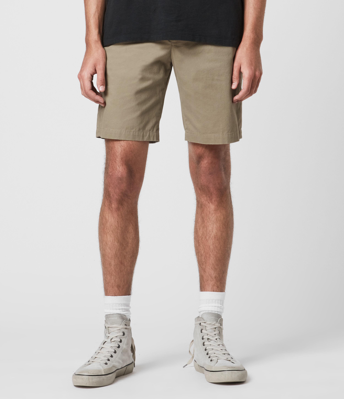 AllSaints Men's Cotton Lightweight Colbalt Chino Shorts, Green, Size: 33