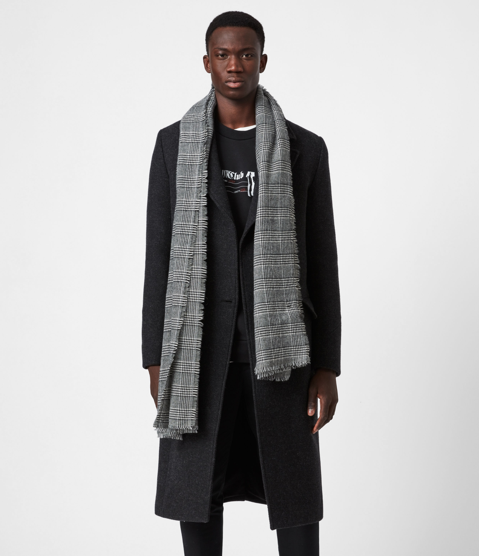 AllSaints Men's Wool Check Lightweight Griffin Scarf