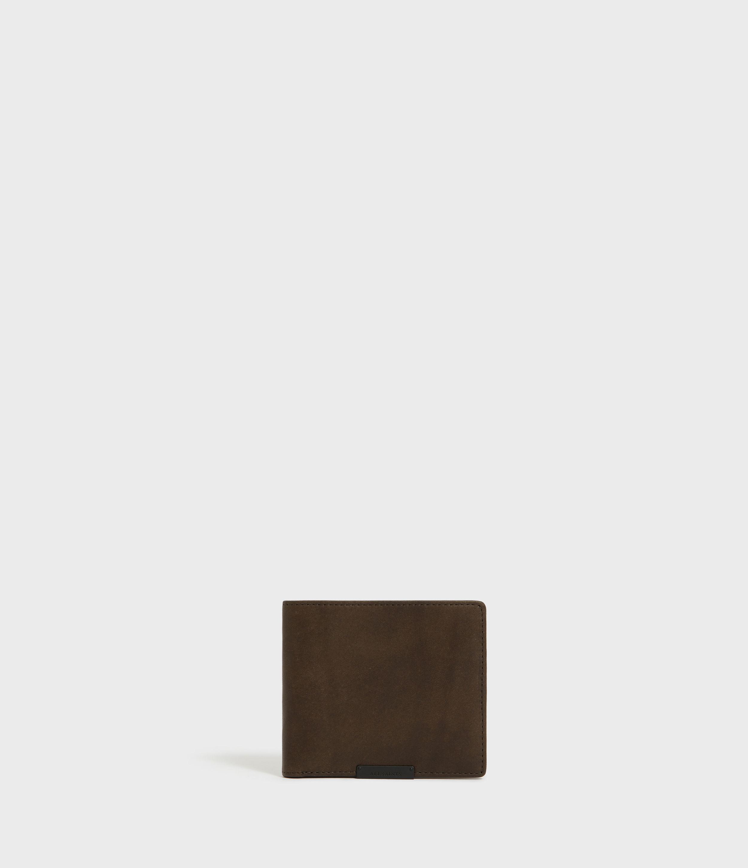 AllSaints Men's Leather Classic Attain Bi-fold Wallet with Ten Card Slots, Green