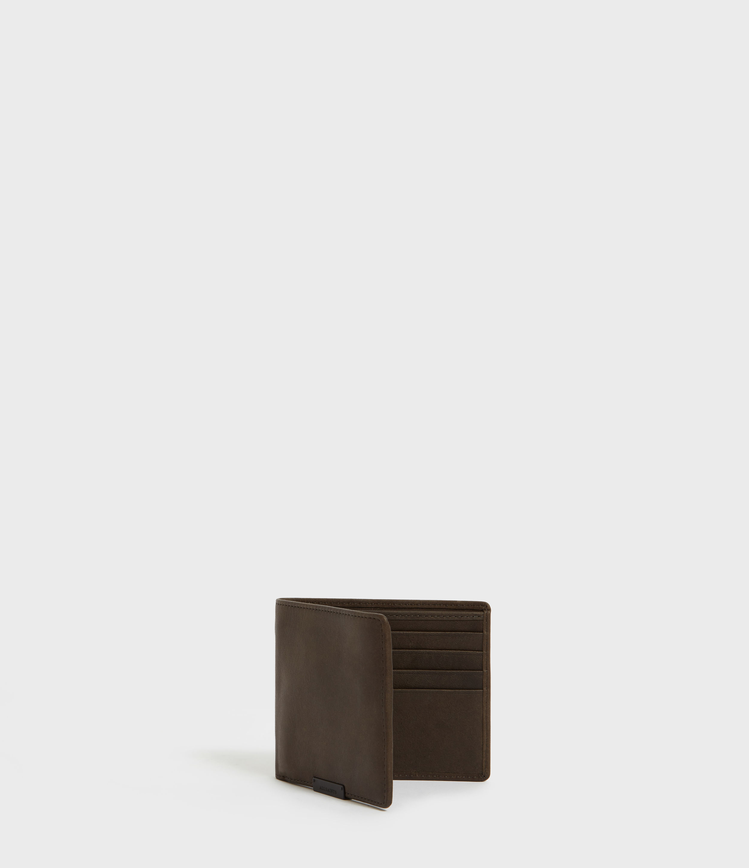 AllSaints Men's Leather Classic Attain Cardholder Wallet, Brown
