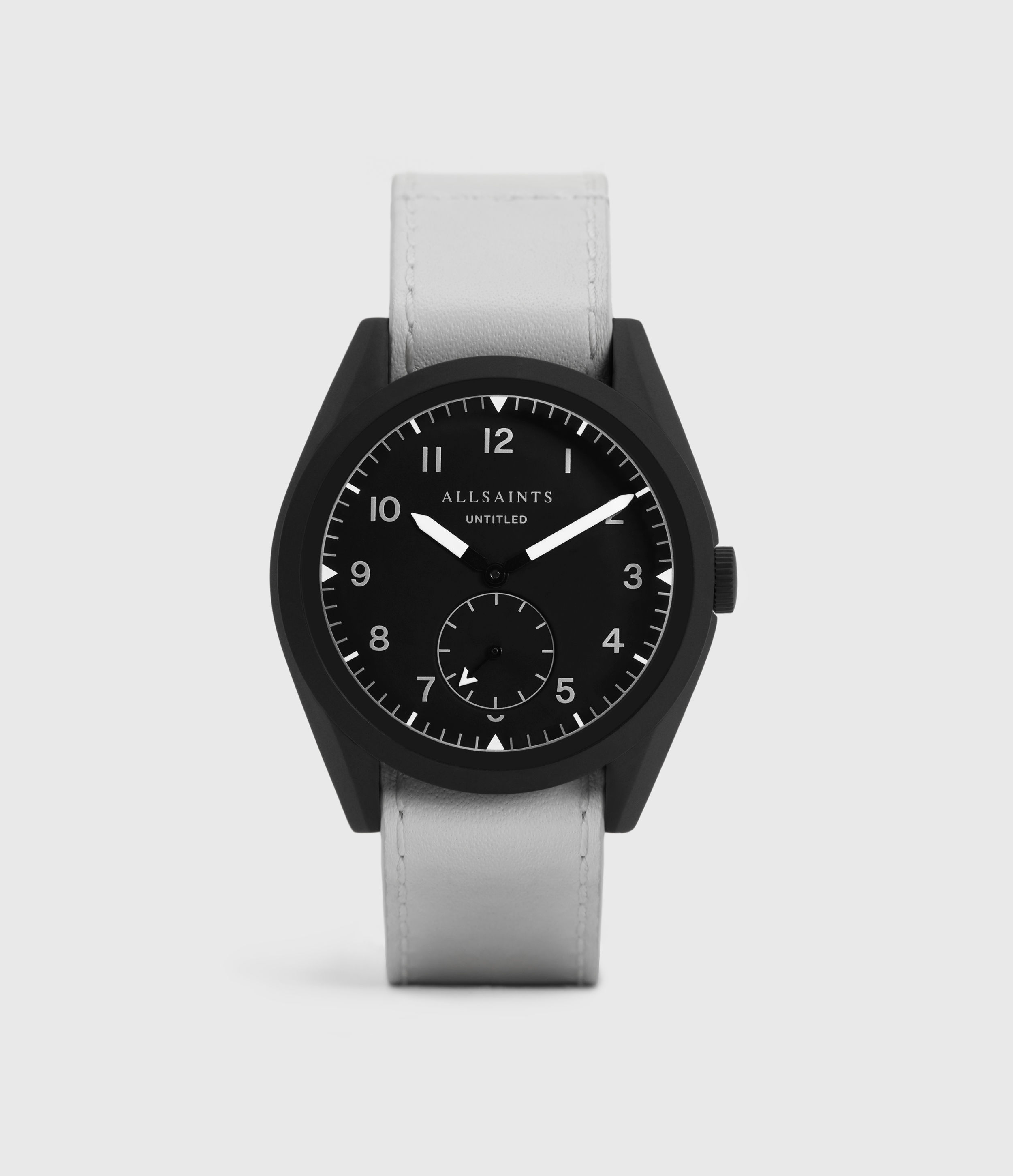 AllSaints Untitled IV Matte Black Stainless Steel and White Leather Watch