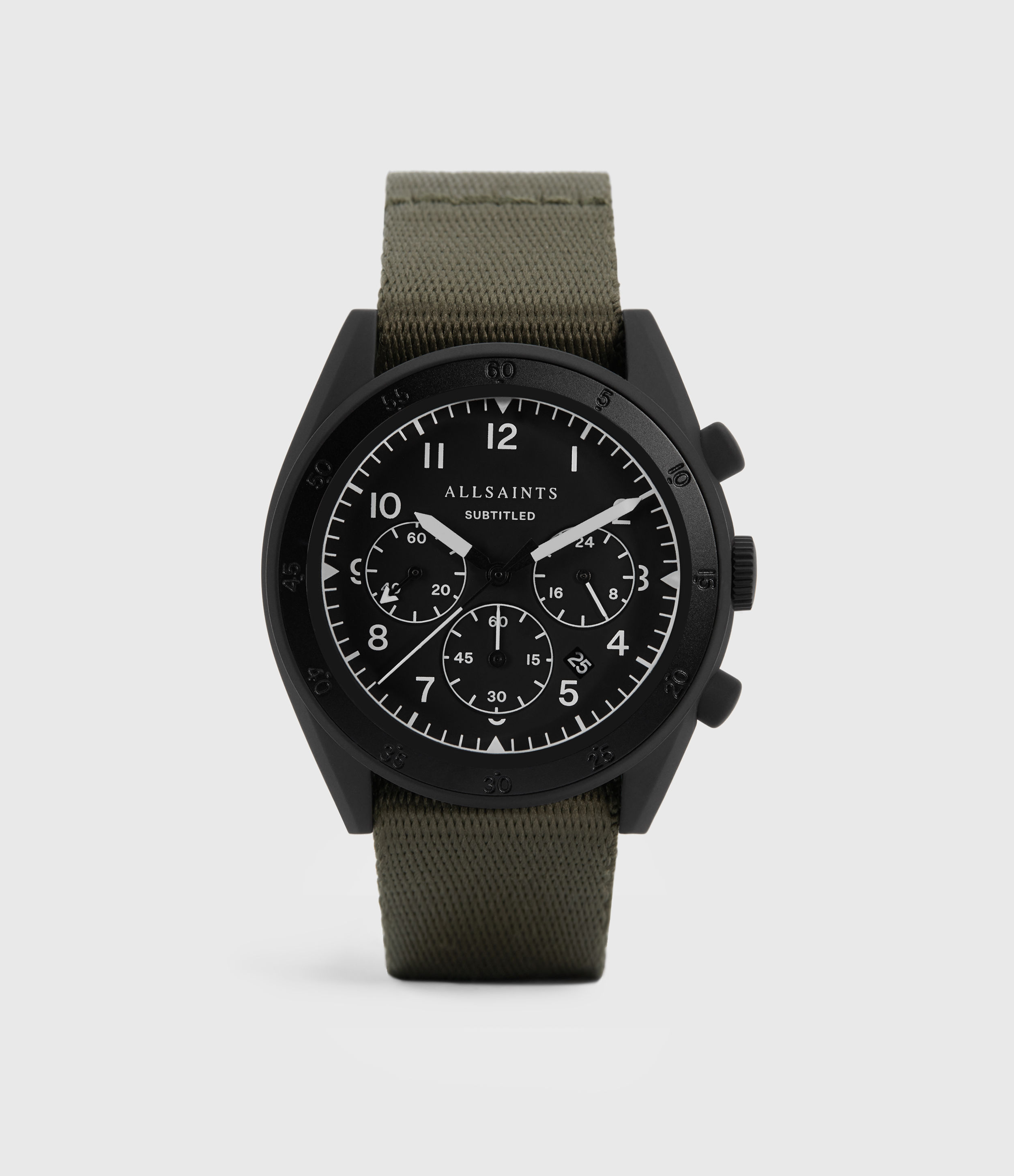 AllSaints Subtitled I Matte Black Stainless Steel and Military Green Nylon Watch