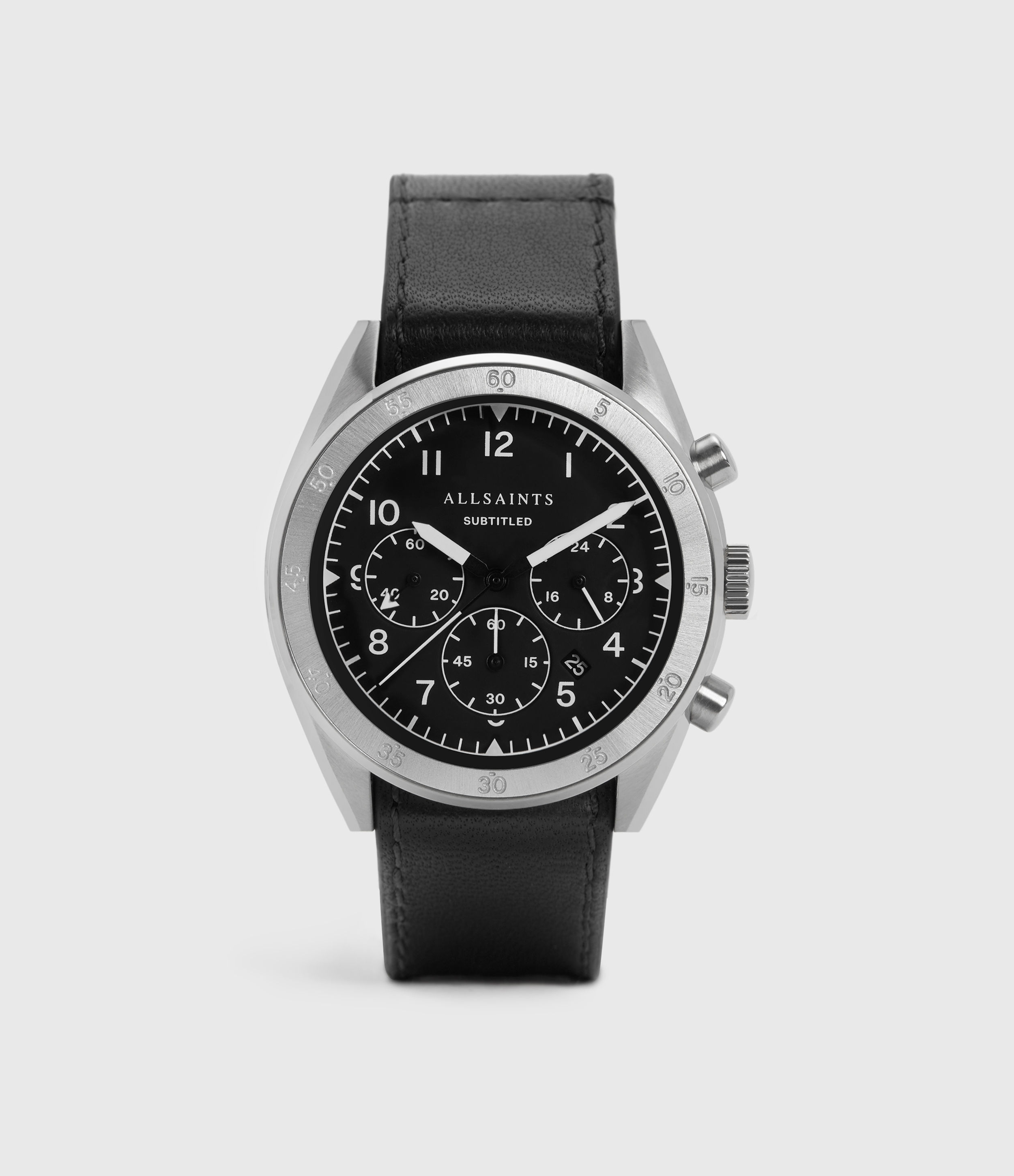 AllSaints Men's Leather Subtitled IV Watch, Black and Silver