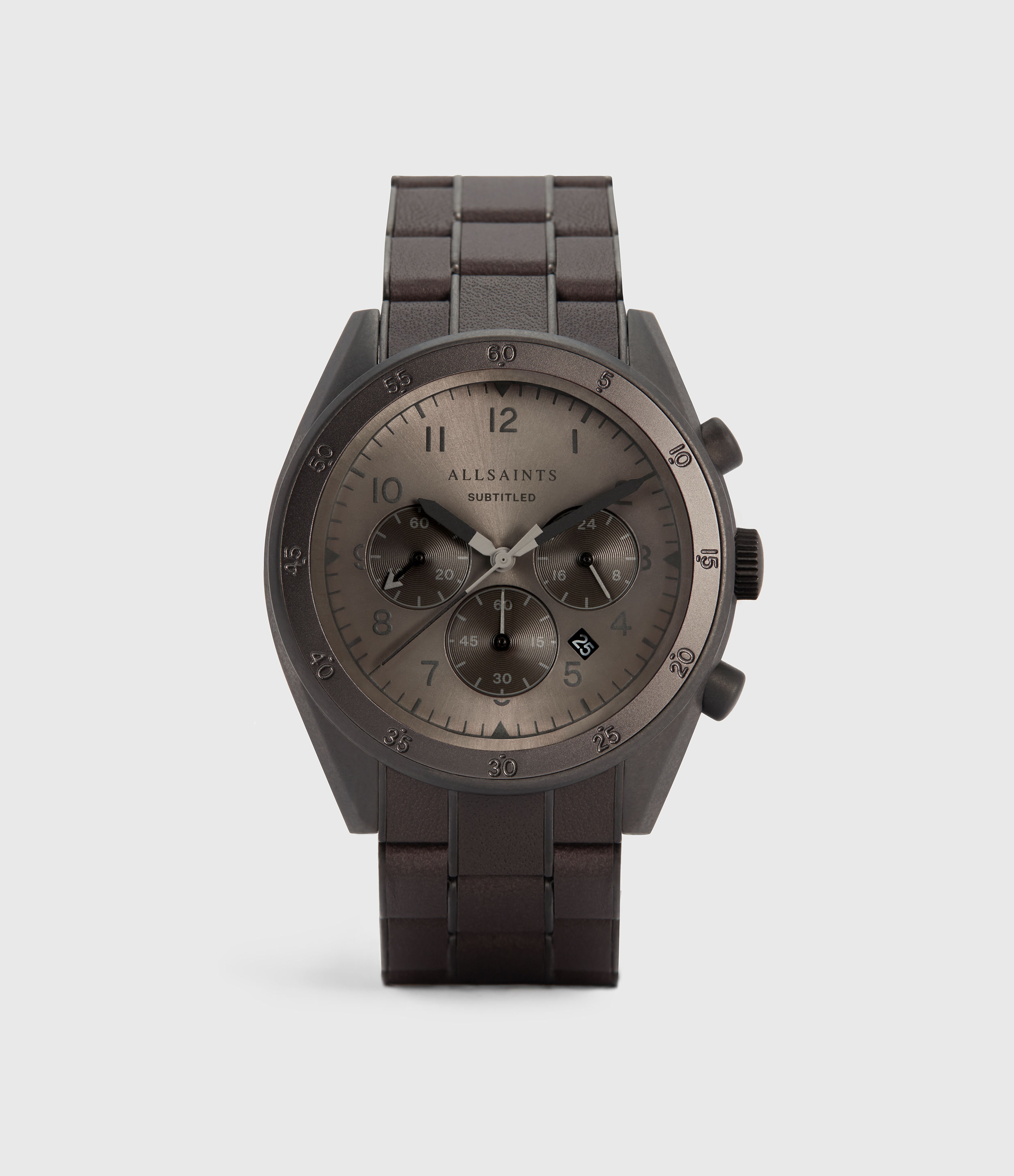 AllSaints Men's Subtitled VIII Stainless Steel Leather Wrapped Watch