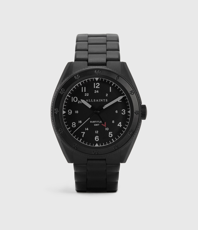 AllSaints Men's Stainless Steel Subtitled GMT V Matte Black Watch, Black
