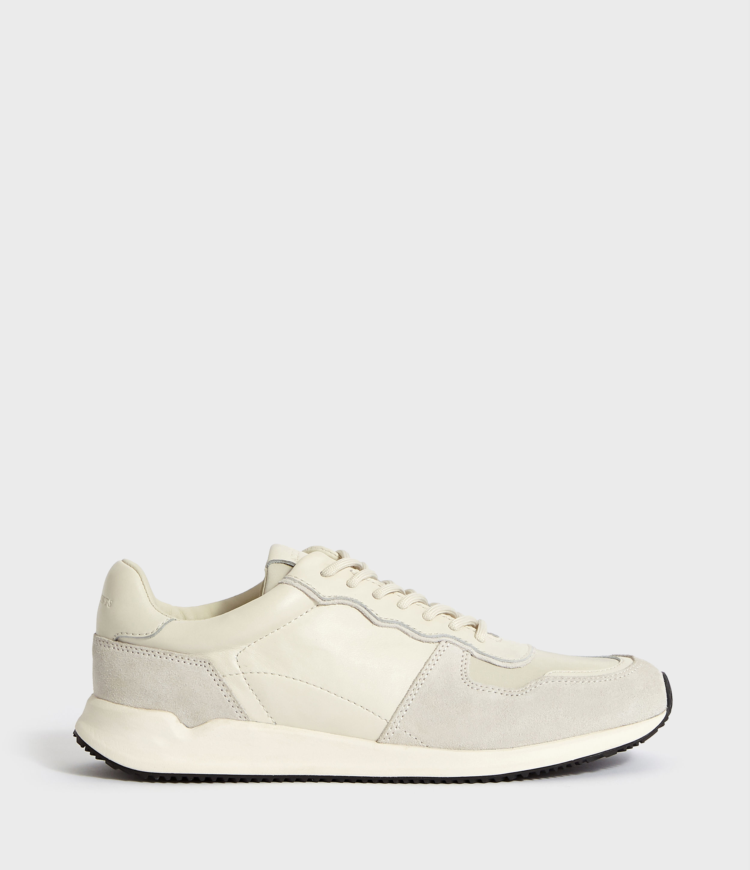 AllSaints Men's Leather Milford Runner Trainer, Cream and White, Size: UK 8
