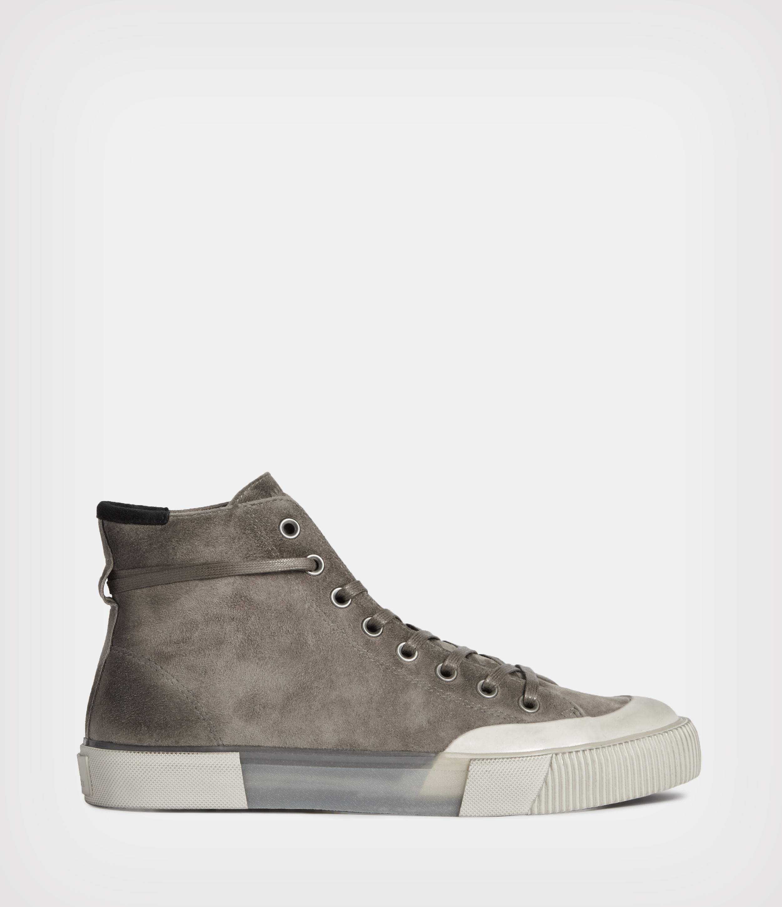 AllSaints Mens Dumont High Top Suede Trainers, Grey, Size: UK 11/US 12/EU 45