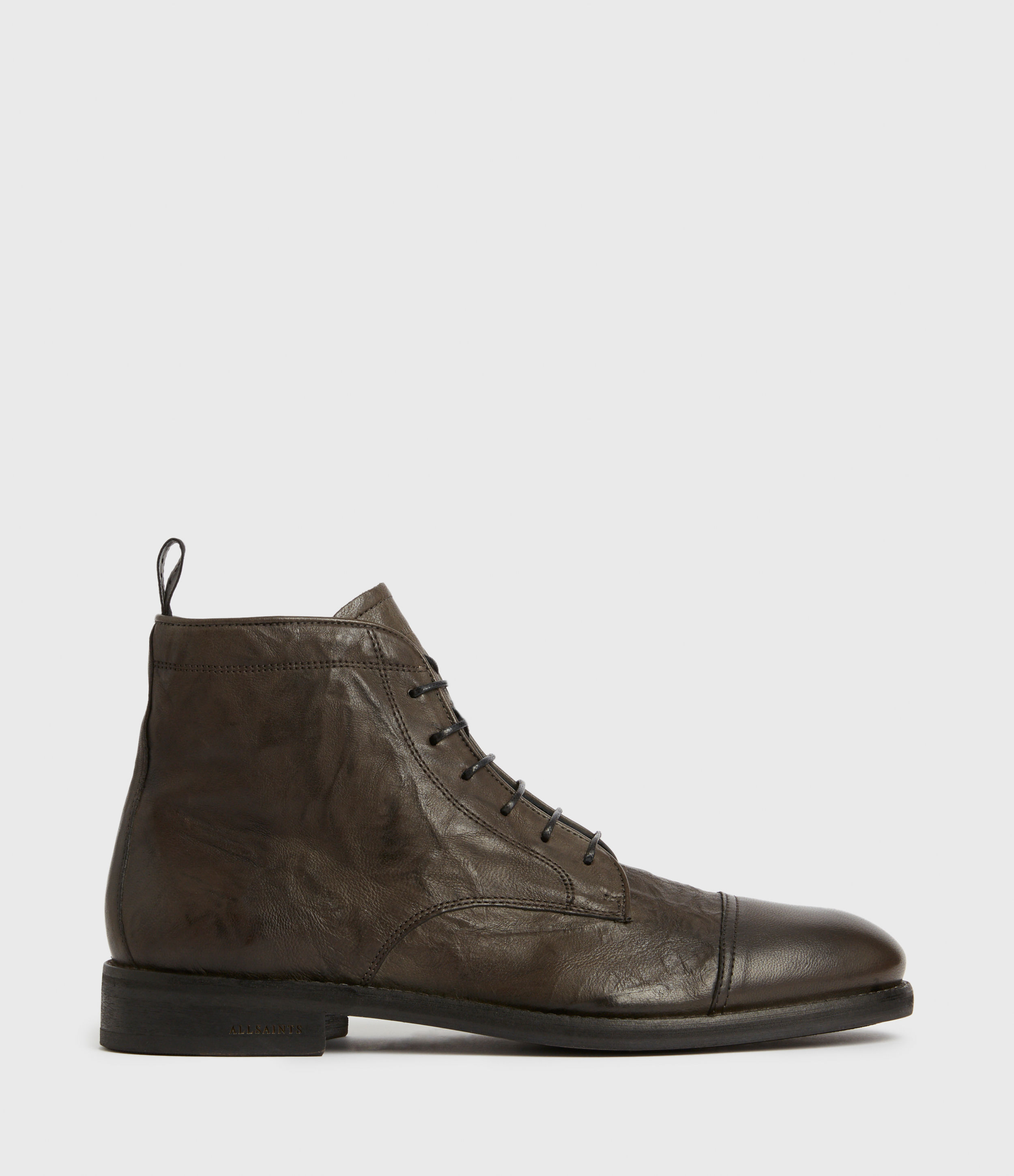 AllSaints Mens Harland Leather Boots, Charcoal Grey, Size: UK 11/US 12/EU 45