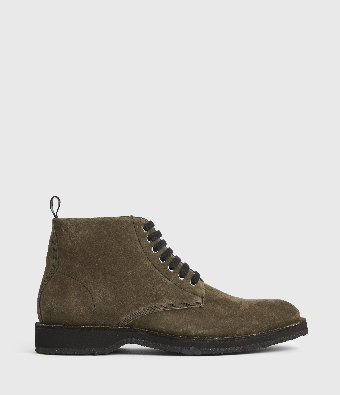 AllSaints Mens Mathias Suede Boots, Dark Khaki, Size: UK 9/US 10/EU 43