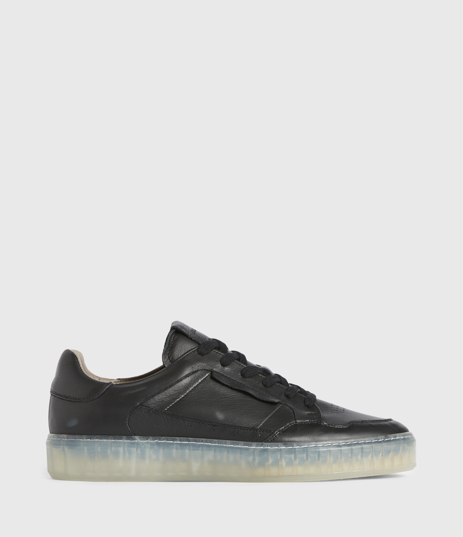 AllSaints Mens Alton Low Top Leather Trainers, Black, Size: UK 7/US 8/EU 41