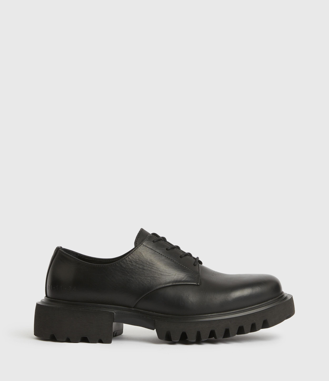 AllSaints Men's Evan Leather Derby Shoes, Black, Size: UK 9/US 10/EU 43