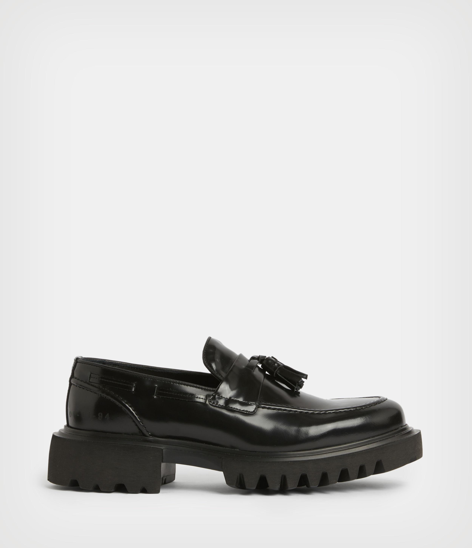 AllSaints Mens Vine Leather Loafers, Black, Size: UK 10/US 11/EU 44