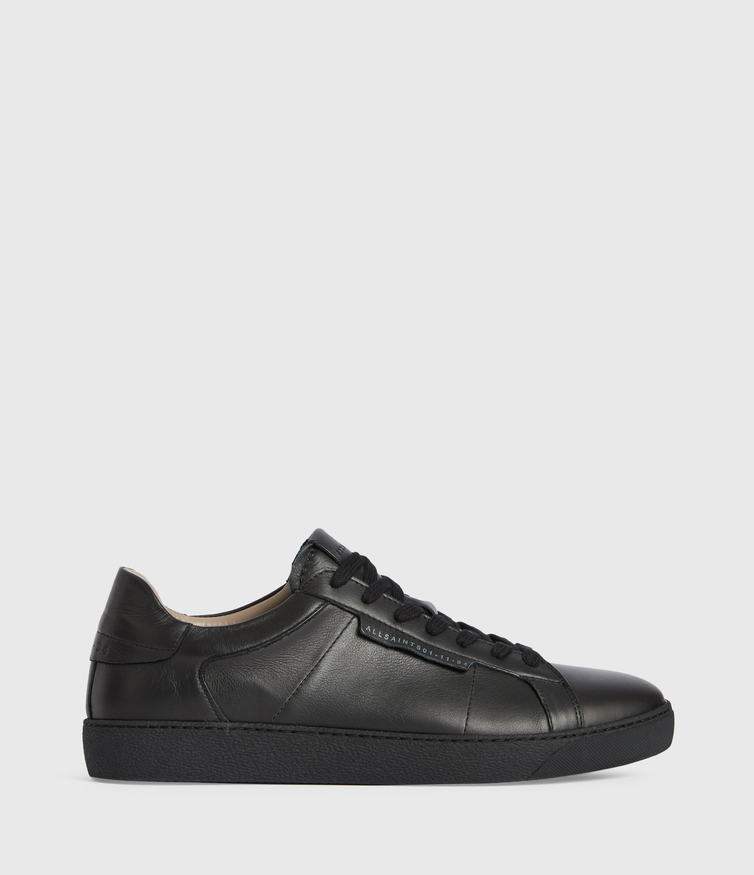 AllSaints Mens Sheer Low Top Leather Trainers, Black, Size: UK 10/US 11/EU 44