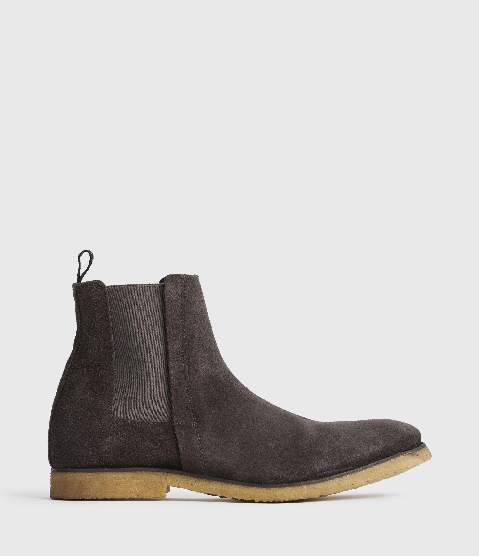 AllSaints Men's Leather Traditional Rhett Suede Boots, Grey, Size: UK 10/US 11/EU 44