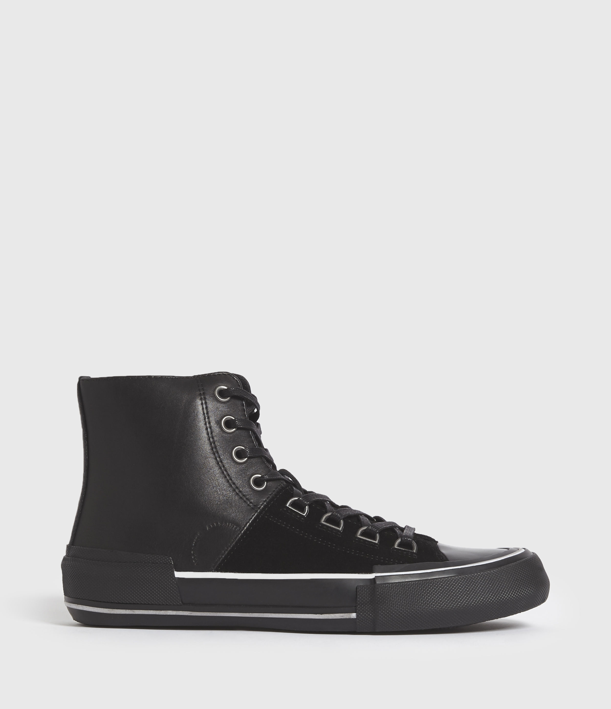AllSaints Mens Waylon High Top Leather Trainers, Black, Size: UK 11/US 12/EU 45