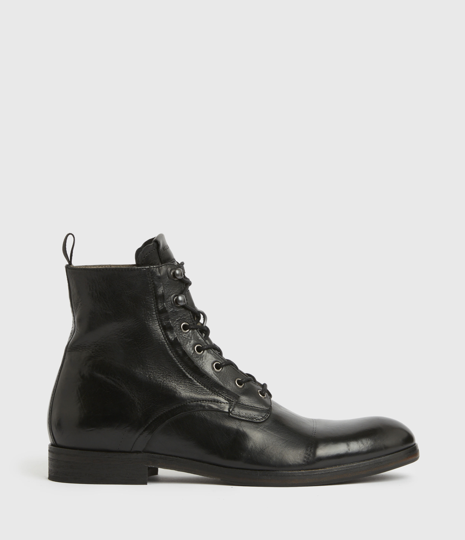 AllSaints Mens Mikkel Leather Boots, Black, Size: UK 7/US 8/EU 41