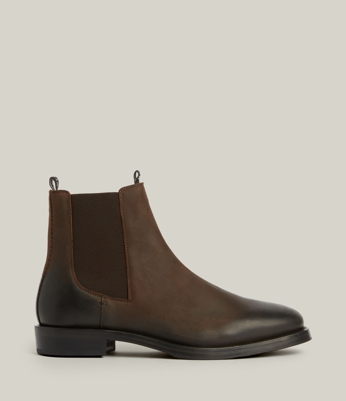 AllSaints Men's Eli Leather Boots, Bitter Chocolate, Size: UK 10/US 11/EU 44