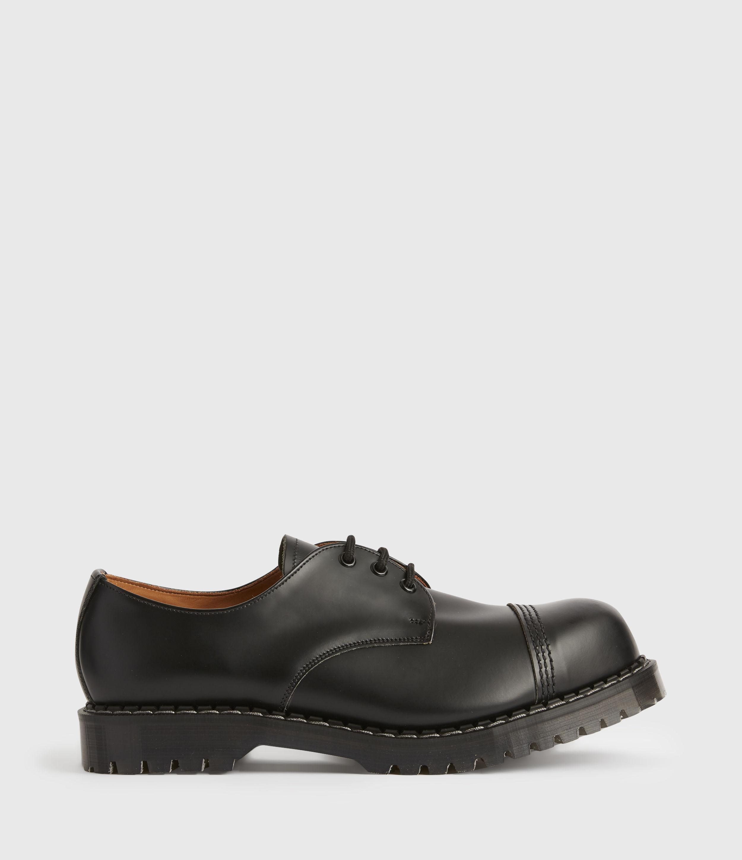 AllSaints Mens Gower Leather Derby Shoes, Black, Size: UK 11/US 12/EU 45