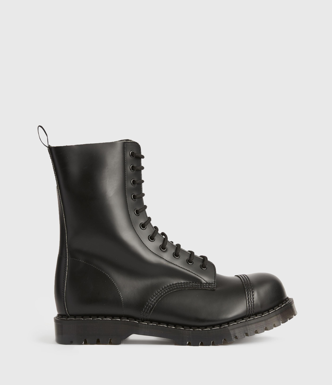 AllSaints Mens River Leather Boots, Black, Size: UK 12/US 13/EU 46