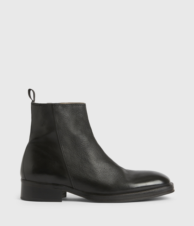 AllSaints Mens Seth Leather Boots, Black, Size: UK 7/US 8/EU 41