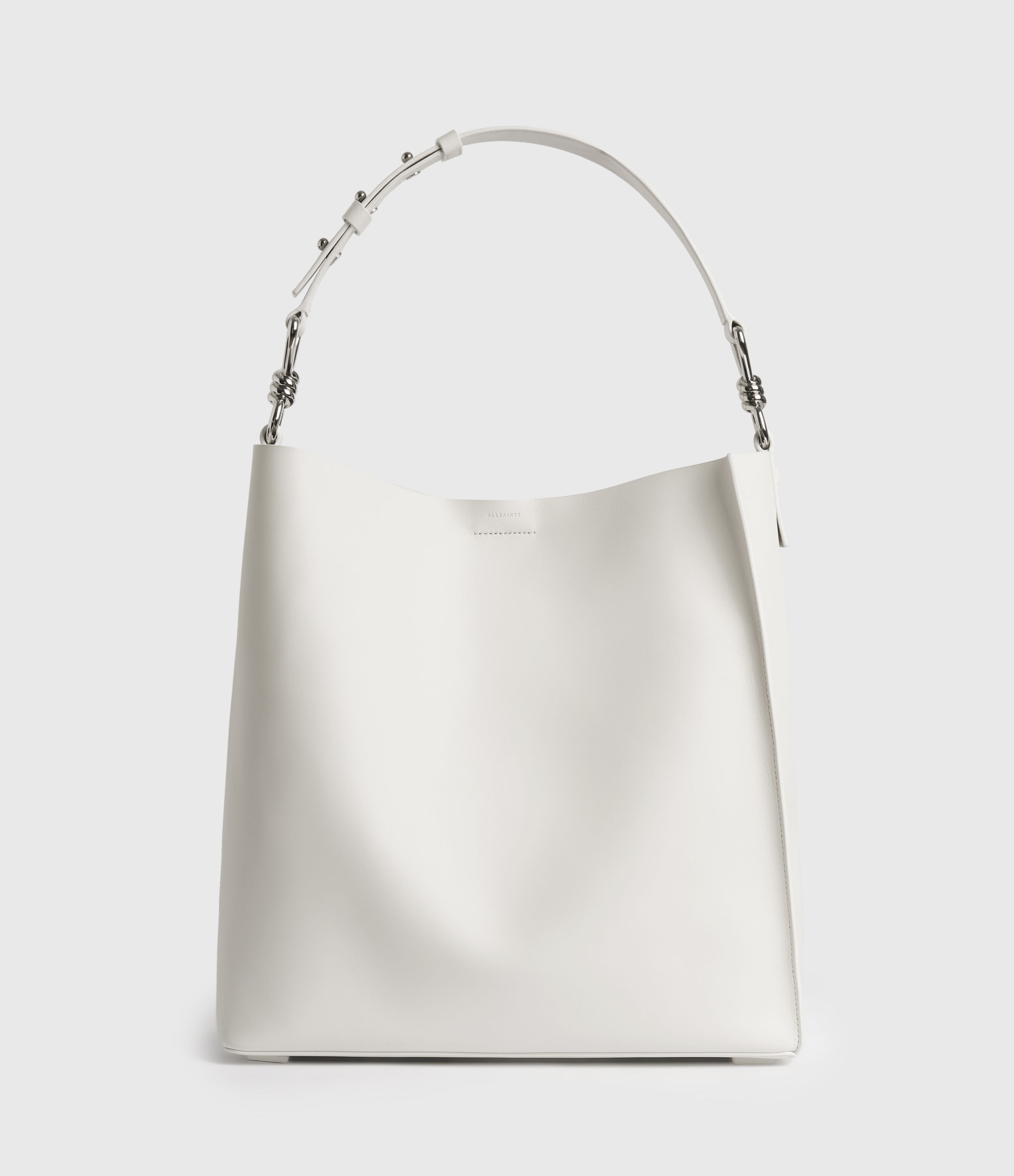AllSaints Womens Captain Leather North South Tote Bag, Chalk White