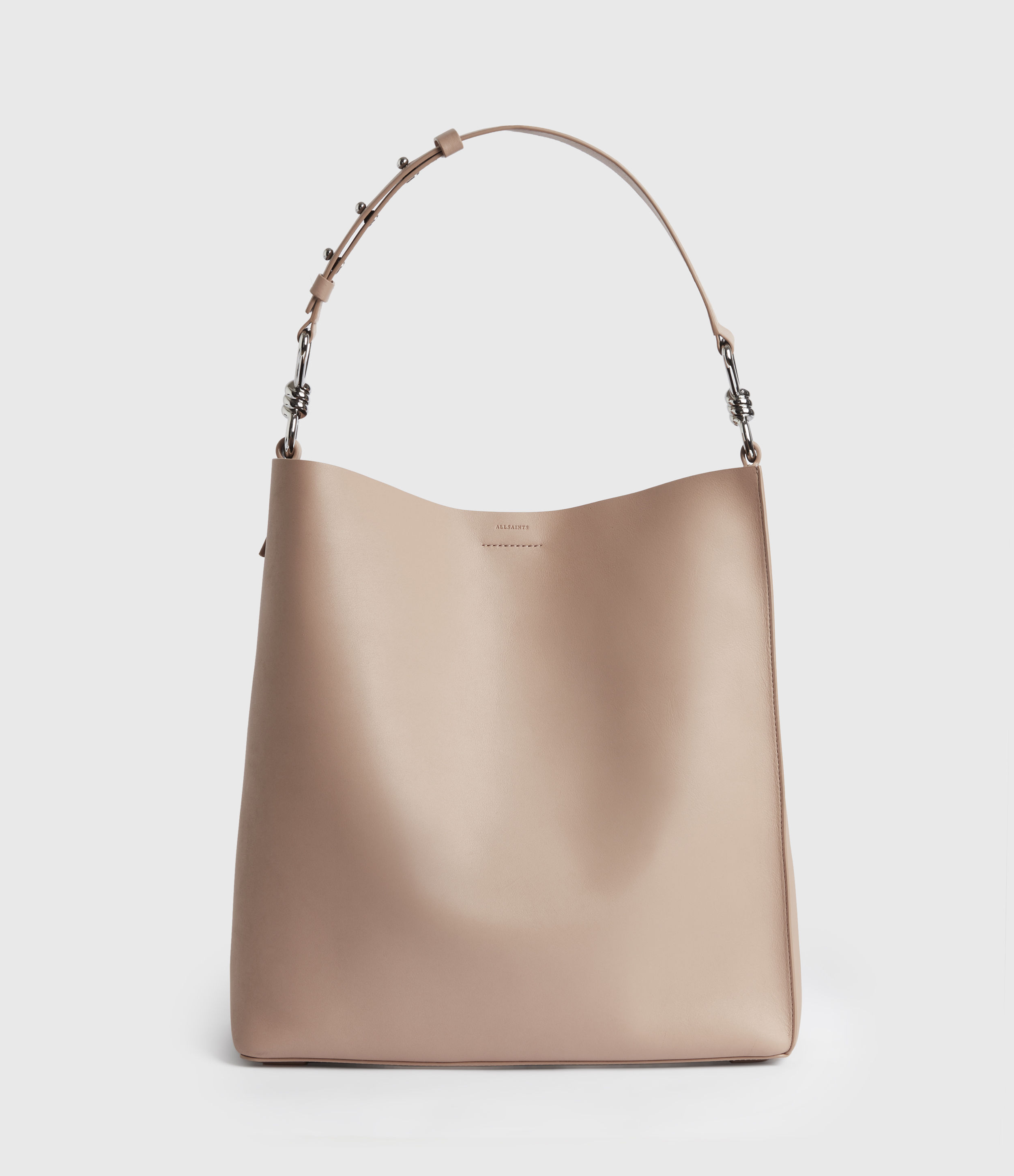 AllSaints Womens Captain Leather North South Tote Bag, Nude Pink