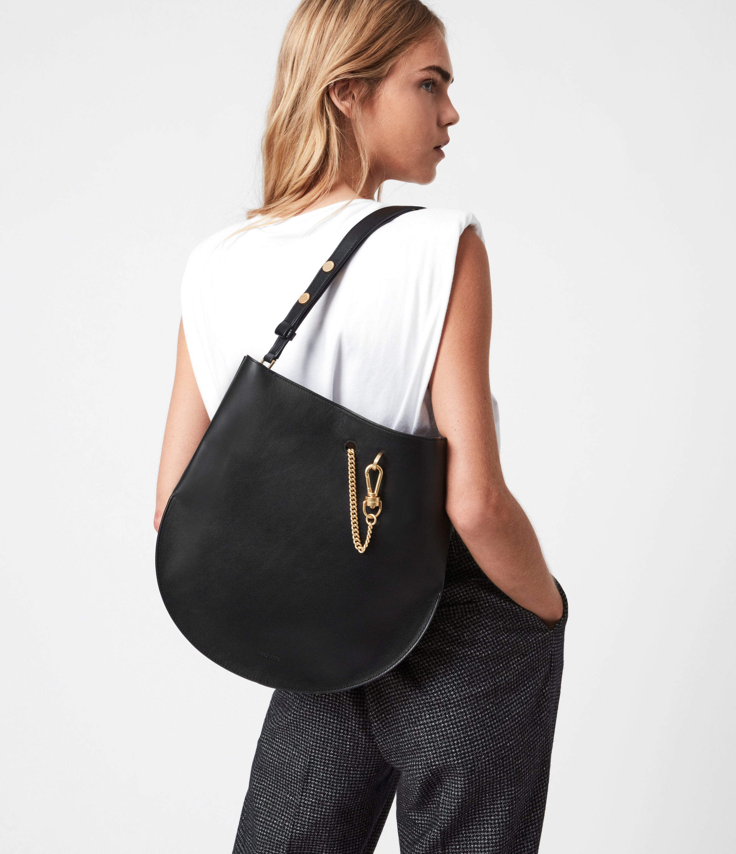AllSaints Womens Womens Beaumont Leather Hobo Bag