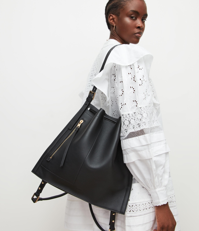 AllSaints Womens Alpha Leather Backpack, Black
