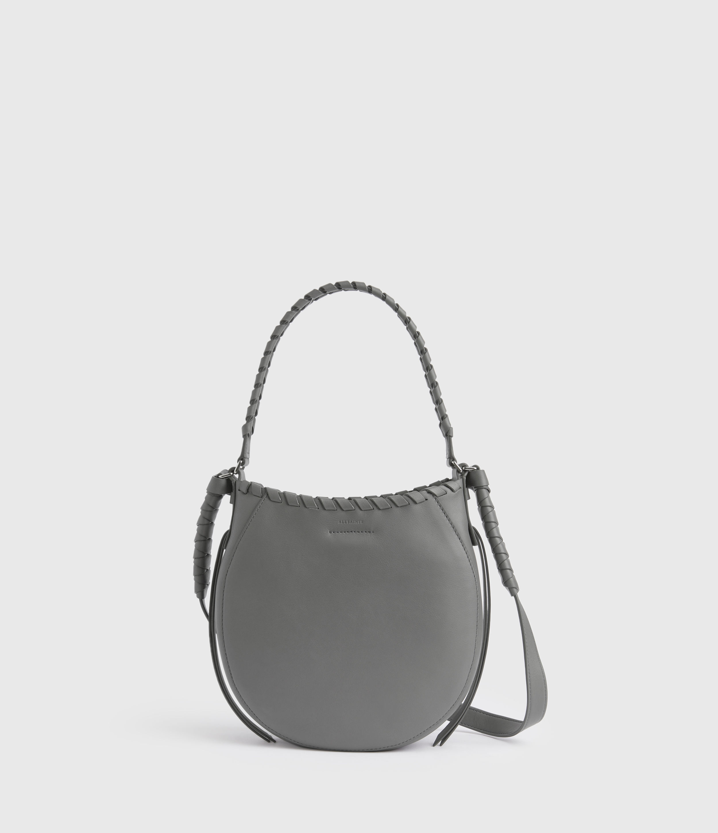 AllSaints Women's Leather Adina Small Hobo Bag, Grey