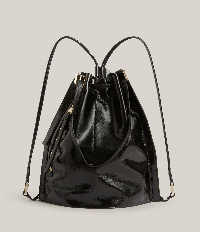 AllSaints Women's Alpha Leather Backpack, Liquid Black