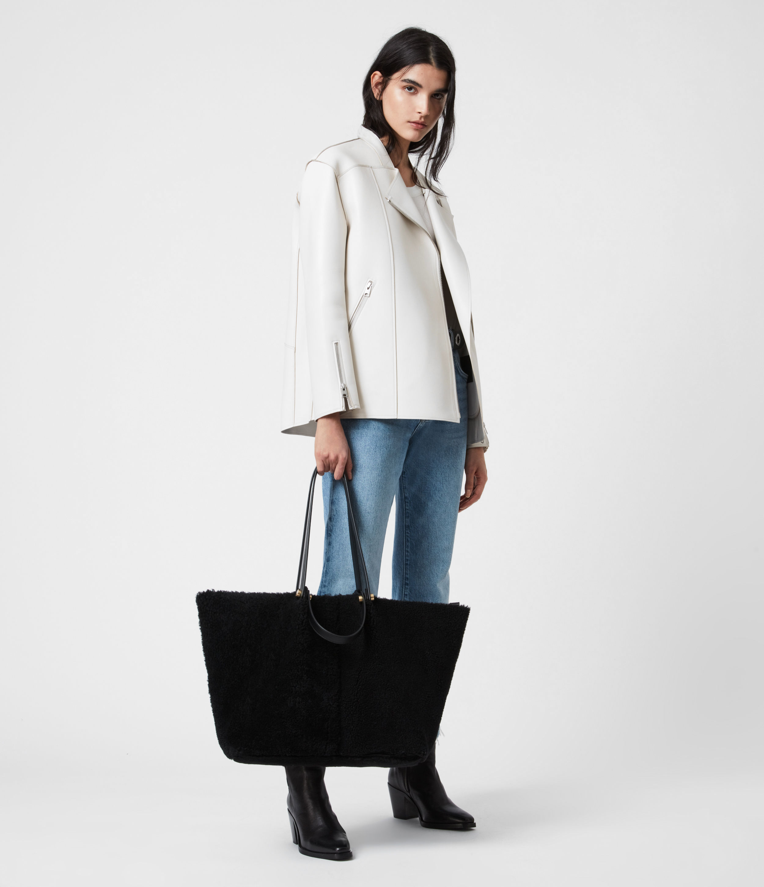 AllSaints Allington Shearling Tote Bag